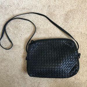 Vintage Ganson Black Woven Leather Crossbody Purse